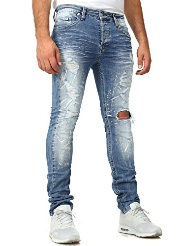 Kingz destroyed jeans Millésime Mince Fit Section Regardez Sequins Long Herbstmode Five Pocket style Boutons fermeture à bouton Crâne Bleu