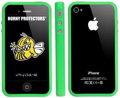 Horny Protectors Bumper für Apple iPhone 4/4S transparent/grün mit Metallbutton grün