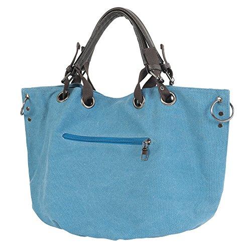 CloSoul Direct Borsa da Donna a Spalla, Borsa Donna di Tela, Tracolla da Donna per Uso di Lavoro, Spesa, Viaggio Casual. ( Cachi ) blu