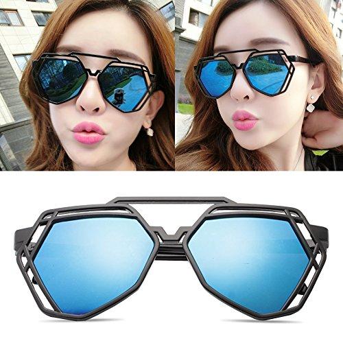 BM Elegante personalisierte Sonnenbrille, Meine Sonnenbrille, männliche Flut - Brille, rundes Gesicht, koreanische Retro - Augen,Black Box Blue Film (Bag)