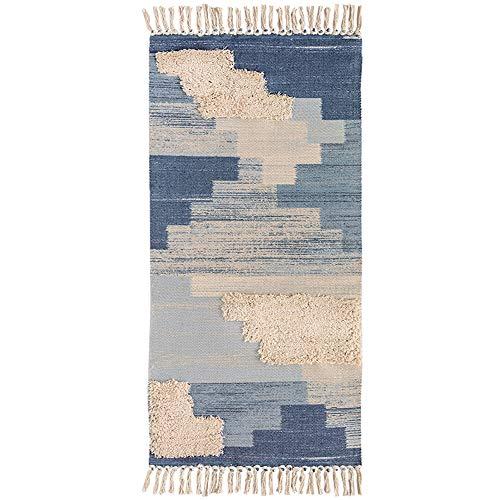 Wolala Home Marokkanischer Tuft-Tassel, Baumwolle, handgewebt, bequemer Überwurf, Teppich für Badezimmer/Schlafzimmer/Wohnzimmer/Waschküche/Eingangsbereich/Flur, maschinenwaschbar 23''x51'' blau - Tuft-teppich-matte