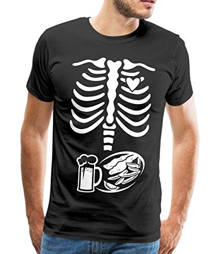 Spreadshirt Schwangerschaft Skelett Papa Männer Premium T-Shirt, S, Schwarz