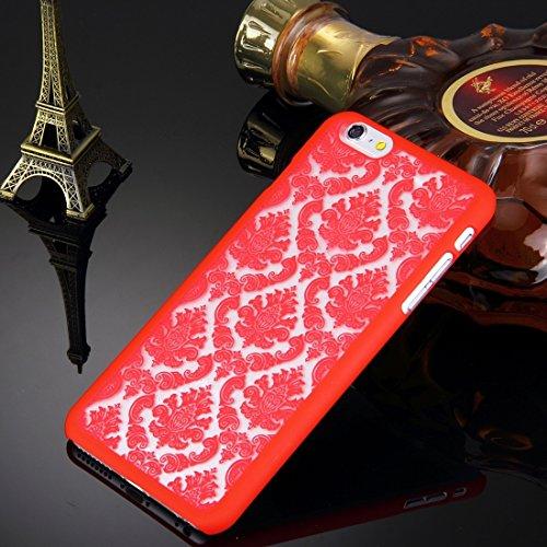 WKKIT Fall retro - palast prägung blumen muster schutz hart für das iphone 6 plus &65 plus ( Color : Red ) Red