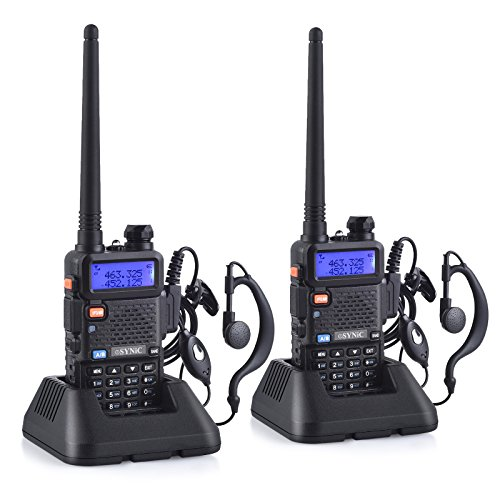 ESYNiC Paio Walkie Talkie UV-5R Dual Band Baofeng 65~108MHz VHF/UHF Walky Talky LED FM 128 Canali Memoria Due Vie Radio Auricolari Ricetrasmettitore Ricevitore Supporta VOX con USB Cavo Alimentazione
