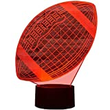 Créatif 3D Rugby Nuit Lampe 7 Couleurs Changeantes Puissance USB Contact Switch Lampe Décorative Illusion Optique LED Lampe de Table Anniversaire Noël Cadeau Enfants Jouets