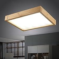 KHSKX Lampada da soffitto,moderno minimalista in stile giapponese di illuminazione lampade a soffitto in legno massiccio di forma rettangolare di stile Cinese lampade in legno camera da letto soggiorno Lampada lamp 600mm*460 mm*80mm - Tenda Acrilica