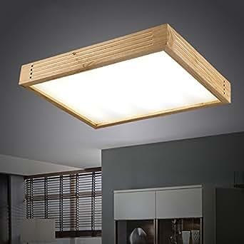KHSKX Lampada da soffitto,moderno minimalista in stile giapponese di illuminazione lampade a soffitto in legno massiccio di forma rettangolare di stile Cinese lampade in legno camera da letto soggiorno Lampada lamp 600mm*460 mm*80mm