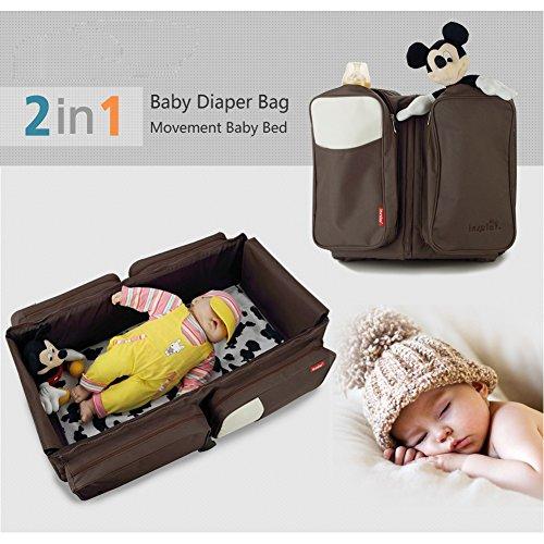 Yimidear 2 in 1 Wickeltasche und Babywiege mit Schultergurt für Kinderwagen für unterwegs Braun