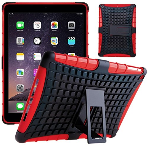 DN® New Rot Heavy Duty Military Survivor Rugged Tough Shock Proof Case Stand Cover für Apple iPad Air 2/iPad 6. Generation mit integrierter Displayschutzfolie