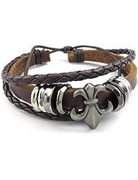 Pulsera para hombre, de Mendino, con cordón de piel trenzado a mano, diseño floral, color marrón, incluye bolsa de terciopelo