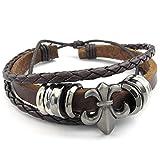 Mendino - Pulsera para hombre, cordón de piel trenzado a mano, diseño floral, incluye bolsa de terciopelo, color marrón