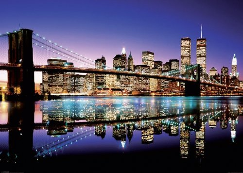 New York XXL Poster Skyline Brooklyn Bridge by Night (140cm x 100cm)...