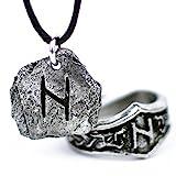 Unisex Pendente Rune in peltro e anello runico regolabile abbinato - Set Regalo Vichingo (H - HAGALAZ)