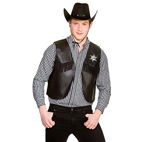Cowboy Sherriff Waistcoat BLACK for Fancy dress Costume