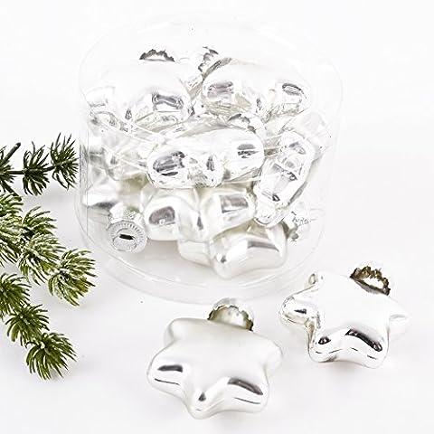 Weihnachtskugel Sterne Premium 10er Set Glas 5x4x2cm Xmas Baumschmuck (Silber)