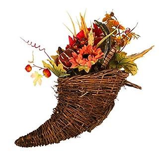 Flor artificial en maceta, girasoles falsificados Hojas de arce Bayas Calabaza con cesta tejida de ratán Centros de mesa para bodas de Navidad Acción de gracias Decoración de Halloween