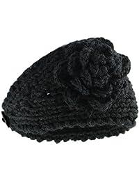 Vococal® Femmes Au Crochet Fleur Bandeau Hiver Tricot Cheveux Bande Head Wrap Bandeau Chaud Hairband Oreille Chauffe-Noir