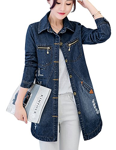 Get Menschwear Womens Long Denim Jacket stone Washed Cotton at ...