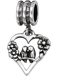 So Chic Joyas - Abalorio Charm Corazón Flores y páj se juntan - Compatible con Pandora, Trollbeads, Chamilia, Biagi - Plata 925