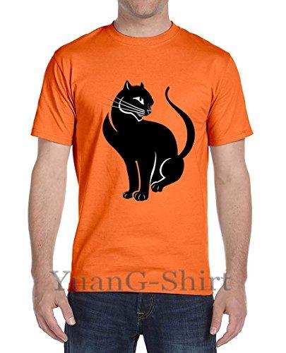 Looking Back Cat Summer Men's Short-Sleeved Cotton T-Shirt (Shirt Classic Polo Alpha)