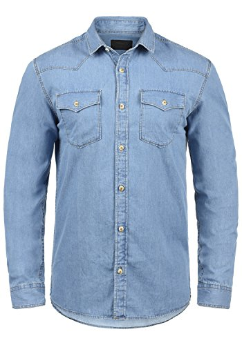 PRODUKT Paulus Jeanshemd Denim-Shirt Hemd, Größe:L, Farbe:Light Blue Denim