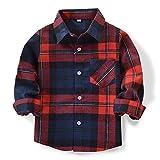 OCHENTA Hemden Jungen Langarm Plaid Kariert Freizeithemd E007 Blau Rot Asiatisch 140cm-(De 134cm)