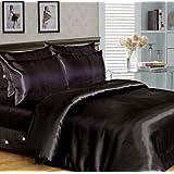 parure housse de couette satin 6 pieces noir black 2 personnes 260 cm x 220 cm. Black Bedroom Furniture Sets. Home Design Ideas