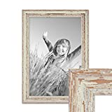 PHOTOLINI Vintage Bilderrahmen 30x45 cm Weiss Shabby-Chic Massivholz mit Glasscheibe und Zubehör/Fotorahmen / Nostalgierahmen