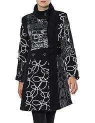 CASPAR - Manteau hiver pour femme - Manteau en laine avec motif patchwork stylé FABRIQUÉ EN ITALIE - noir / argenté - MTL001