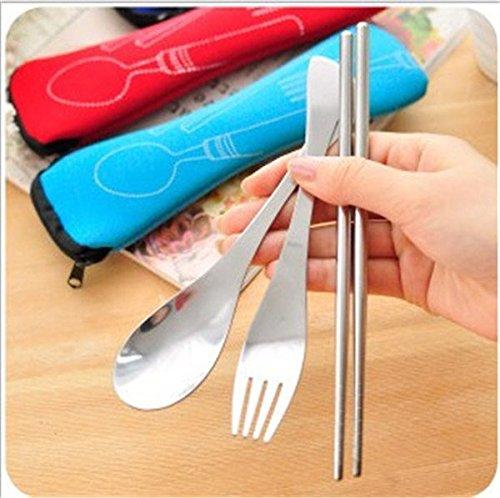 EQLEF® Portable di corsa dell'acciaio inossidabile Spoon bacchette della forcella Set da tavola con Pull Catena Caso colore casuale