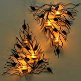 #5: JaipurCrafts Set of 2 Wall sconces 40 cm long with 6 Glass Cup Candle Holders and bonus Tealight Candles| Wall Art | Wall Decor| Antique Wall Hanging | Modern Wall Art