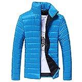 Riou Herren Winterjacke Baumwolle Stehkragen Zipper Warme Winter Dicken Mantel Jacke Übergangsjacke Steppjacke,Männerjacke Daunenjacke Windjacke Für Männer (M, Blau B)