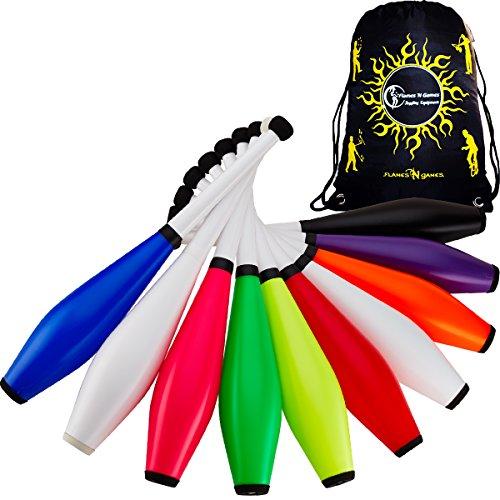 1 x Henrys DELPHIN Jonglier-Club Set + Reisetasche! Farbig Jonglierkeulen für Kinder & Erwachsene! Ideal für Jonglieren Anfänger & Profi Auch! Preis für 1x Club (Blau)