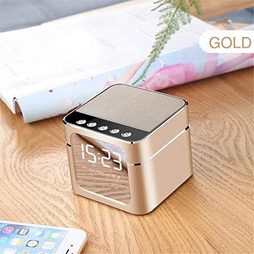 FENGCLOCK LED-Wecker mit drahtlosem Bluetooth-Lautsprecher, tragbarer Metall-Mini-Quadrat-Spiegel TF-Karte AUX-Mikrofon-Uhr für Smartphone-Gebühr,Gold