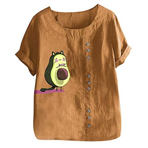 Damen Sommer T-Shirt Kurzarml Freizeit O Ausschnitt Frauen Sexy Bedruckt Stretch Weste Schlankes Tee Bettwäsche Baumwolle Hemden Yoga Übergroße Lose Bluse Tops (EU:38, Gelb)