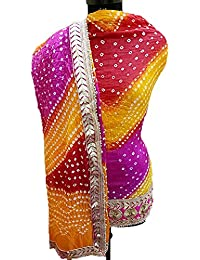 NS Creation Women's Art Silk Bandhini Gota Patti Daaman Border Suit With Same Work Border In Crep Bottom (SN-178...