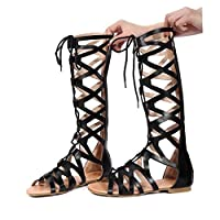RED LIU Roman Gladiator Bandage Sandals Women Knee High flat sandalias botas femininas Women Shoes Girls Summer hollow Ankle Boot
