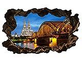 3D Wandtattoo Kölner Dom Köln Skyline Stadt Brücke Wandbild Wandsticker selbstklebend Wohnzimmer Wand Aufkleber 11E624, Wandbild Größe E:98cmx58cm