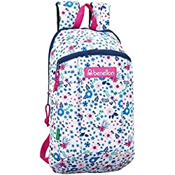 Safta - Benetton UCB In Bloom White Oficial Mini Mochila Uso Diario 220x100x390mm