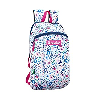 Safta – Benetton UCB In Bloom White Oficial Mini Mochila Uso Diario 220x100x390mm