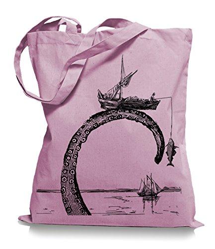 Octopus Stoffbeutel |Riesenkrake Fischer Tragetasche Angler Classic Pink
