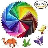 Sunerly Lot de 200 feuilles de papier origami 2 tailles, 50 couleurs vives recto pour travaux manuels, lot de 100 yeux mobiles...