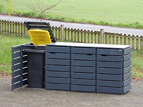 4er Mülltonnenbox / Mülltonnenverkleidung 120 L Holz, Deckend Geölt Anthrazit Grau