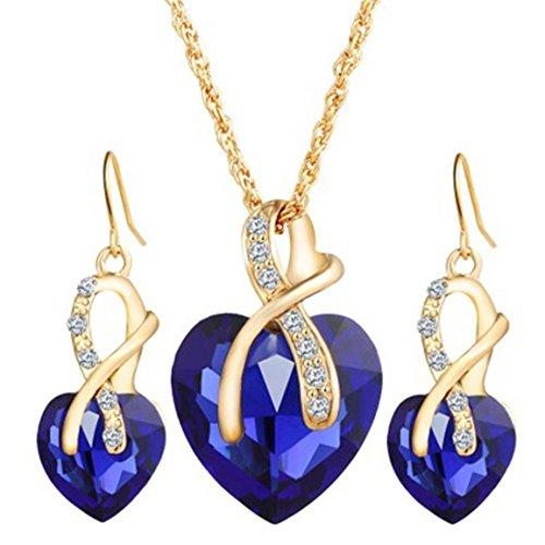 Moonuy 2018 Schmuck Sets für Frauen Mode Choker Kristall Herz Zirkon Elegante Strass Halskette Ohrringe Hochzeit Zubehör Geburtstagsgeschenk (Blau)