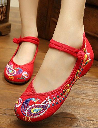 Icegrey Scarpe Donna Ballerine Ricamato A Mano Etnica Ricamato del Pavone Mary Jane Slip On Calzature Rosso