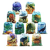 Dinosur Party Bags Reusable 12 PCS, Jurassic Themed Dino Party Supplies, Boys Birthday Party Give Aways, Drawstring Bags for Party Favours Gifts Goodies for Kids