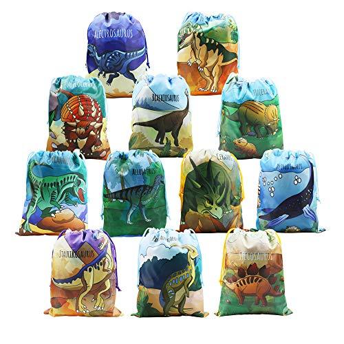 Mitgebsel Kindergeburtstag Geschenktüten 12 Stück Dinosaurier Gastgeschenke Beutel für Kinder Geburtstag, Give Aways Mitgebseltüten, Geschenktaschen, Dino Partytüten