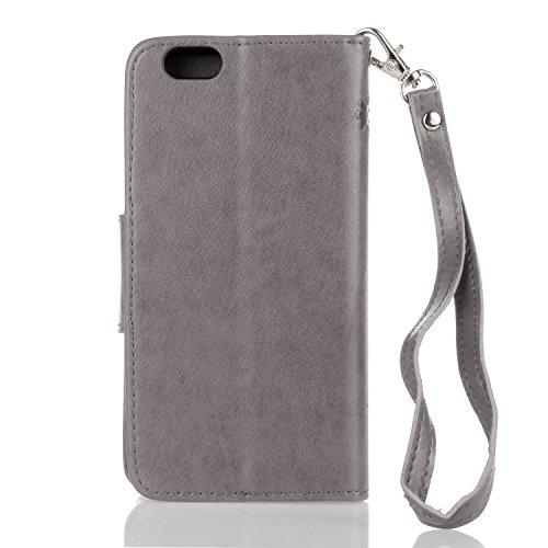 EUWLY Case Cover per iPhone 6 Plus/iPhone 6s Plus (5.5) Custodia Portafoglio PU Pelle Farfalle e Fiori Colore Solido PU Leather Wallet Cover Lanyard Protective Portafoglio Case Cover Internamente Sil Farfalla,Grigio