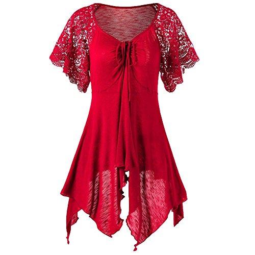 ESAILQ Frauen Verband hohe Taille Kurzarm Lace Floral Patchwork unregelmäßigen Minikleid (XXXXXL, Rot)
