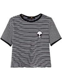 Isassy Croptop T-Shirt für Damen und Mädchen, Casual, Streifen und Alien-Print, kurze Ärmel, Baumwolle